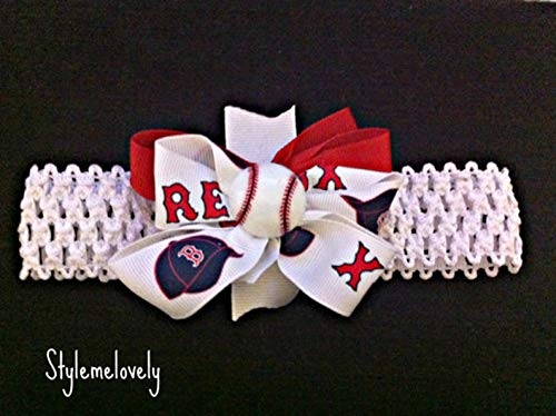 (Boston Red Sox Baby Girl Boutique Bow Crocheted Headband)