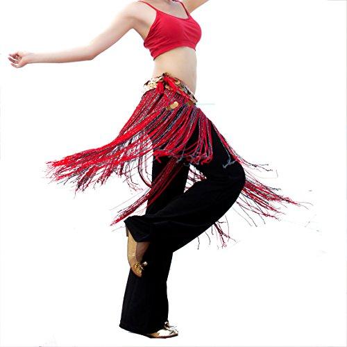 Fringe Hip Belt (Tribal Belt Belly Dance Hip Scarf Zumba Long Tassel Tribal Fringe(red tie,)