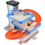 Car Parking Garage Toy Set, Wooden Vehicles Playset, Wood Station, Car Racing Track, Learning Early Development Educational Gift for 3, 4, 5, 6 Year Old Kids, Toddlers, Boys, Girls - iPlay, iLearn