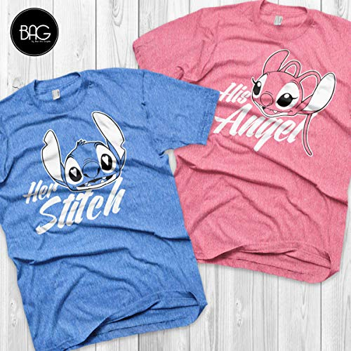 Disney Couple Shirts Stitch and Angel Lilo and stitch Matching Shirts Stitch and Angel shirts Vacation Shirts]()