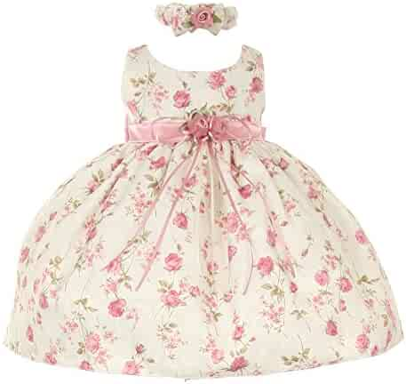 97761263c3 Cinderella Couture Baby Girls Pink Rose Printed Jacquard Occasion Dress 6- 24M