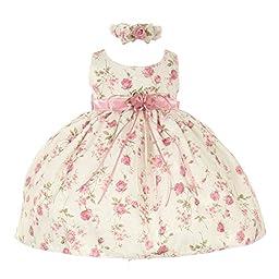 Cinderella Couture Baby Girls Pink Rose Printed Jacquard Occasion Dress 6M