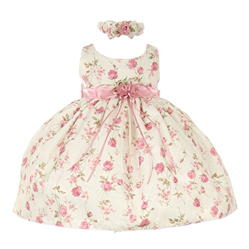 Cinderella Couture Baby Girls Pink Rose Printed Jacquard Occasion Dress -