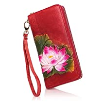 APHISON Designer Womens Leather Zipper Wallets Card Clutch Holder Purse