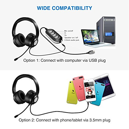 Vtin Headset with Microphone, USB Headset/3.5mm Computer Headphone Headset Noise Cancelling and Hands-Free with Mic, Stereo On-Ear Wired Business Headset for Skype, Call Center, PC, Phone, Mac by Vtin (Image #4)'