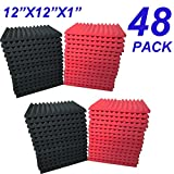 48 Pack Black/red 12''X 12''X1'' Acoustic Panels Studio Soundproofing Foam Wedge Tiles,