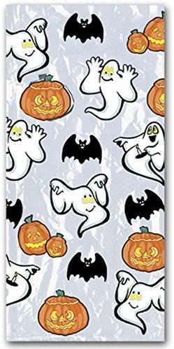 Helloween Pumpkin & Ghost Cellophane Bags 4in. x 9in. x 2in. Party Accessory (25/pkg) Pkg/1