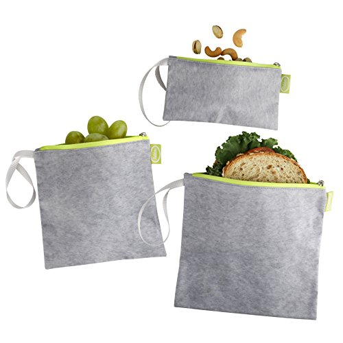 Tabkoe Reusable Snack Bags with Handles - XL, Large & Small Zippered Lunch Baggies for Sandwiches, Meal Prep & More - Resealable, Washable, Eco-Friendly, 3pc Zip Up Pouch (Gray Green)