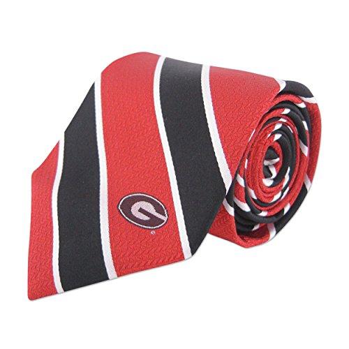 - NCAA Georgia Bulldogs Mens Woven Silk Repp Stripe Collegiate Logo Tie 1, Red and Black, One Size