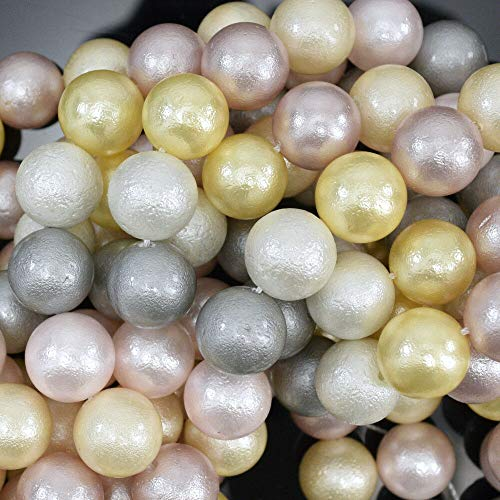 buyallstore 12mm Matte Multicolor Shell Pearl Round Beads 16