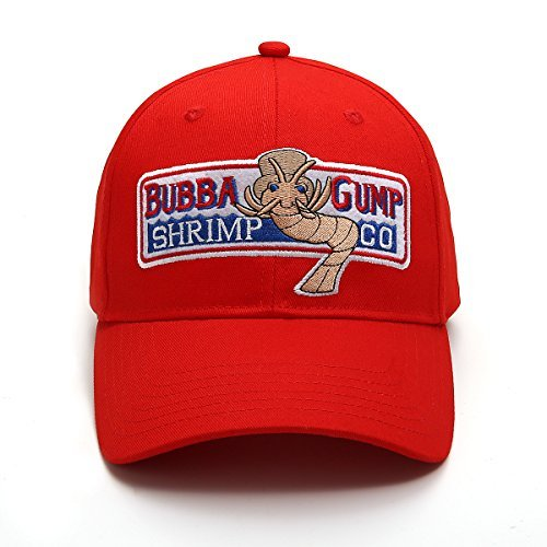 ZYST Adjustable Bubba Gump Baseball Cap Shrimp Co. Embroidered Hat (Red) (Bend Brimmed)