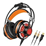 Honstek G6 PC Gaming Headset Over-Ear, LED, with Microphone, Volume/Vibration Control, Dual 3.5mm Jacks/USB Plug for Computer/Laptop.(Black Orange)