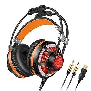 Honstek G6 PC Gaming Headset Over-Ear, LED, with Microphone, Volume/Vibration Control, Dual 3.5mm Jacks/USB Plug for Computer/Laptop.(Black Orange)