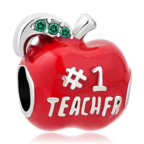 Q&Locket #1 Teacher Apple Charms Red Enamel Charm Beads For European Bracelets