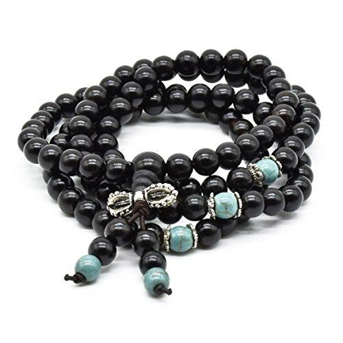 Rel Goods Men Women's Wood Natural Link Black Sandalwood Beads Necklace Bracelet Boutique Prayer Bead - Friday Canada Online Black Sales