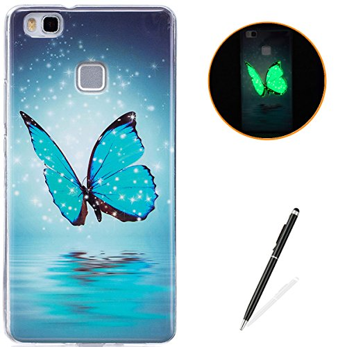 HUAWEI P9 Lite Soft Silicone Gel Case Luminous Effect KaseHom [with Free Black Touch Stylus] Green Glow in the Dark Colourful Blue Butterfly Pattern Jelly Clear TPU Skin Cover Bumper Shell (Luminous Ladybugs)