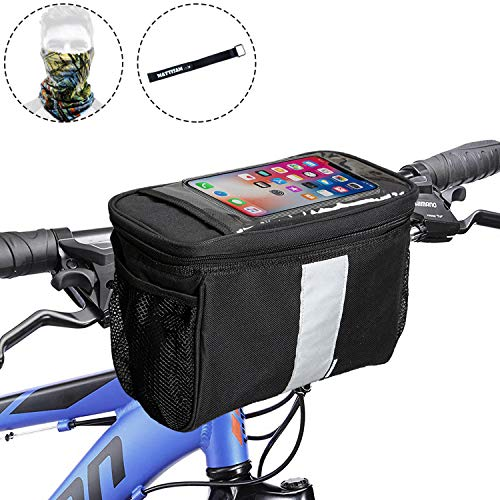 Bike Basket with | 2 Mesh Pockets - Cold & Warm Insulation - Reflective Stripe - Touchable Transparent Phone Pouch | Bicycle Front Bag, Bike Pouch for Cycling, Women, Cruisers ()