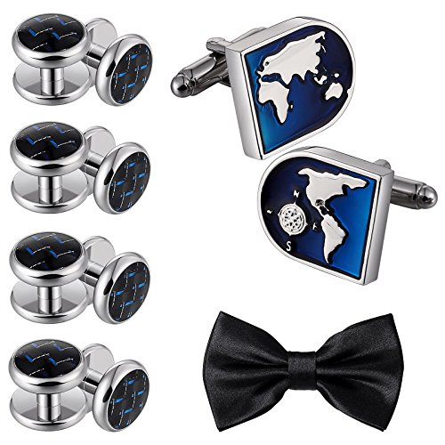 Jewelry Men's Stainless Steel World Map Cufflinks and Studs Set Silver Blue by Aienid - Style World Map