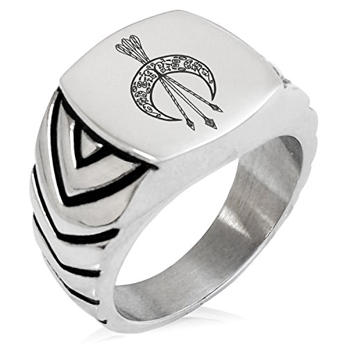 Two-Tone Stainless Steel Artemis Greek Goddess of Moon Engraved Chevron Pattern Biker Style Polished Ring, Size 12