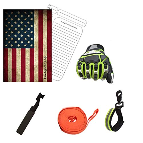 Tools Firefighter Bundle - 1 - Cut Resistant Extrication Gloves (Large) | 1 - Glove Strap (lime Green) | 1 - Drag Strap | 1 - Entry Tool | 1 - Firefighter Log Book (Track training hours, Run activit