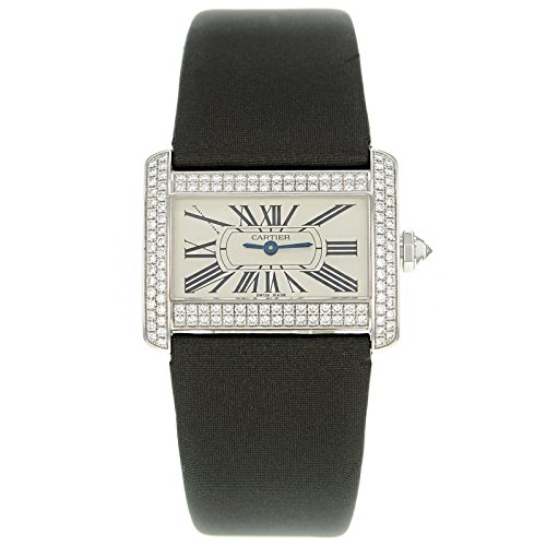 Cartier Tank Mini Divan WA301236 White Gold Original Diamonds Quartz Watch