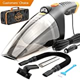 #8: Car Vacuum Cleaner - high power 110W 12v corded auto Portable Vacuum Cleaner for Car interior Cleaning - Lightweight Black DC Car Vac with LED and set of accessories - Mini Handheld Car Vacuum Cleaner