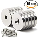 "DIYMAG 10 Pack 1.26""D x 0.2""H Neodymium Disc Countersunk Hole Magnets. Strong, Permanent, Rare Earth Magnets,with 10 Screws."
