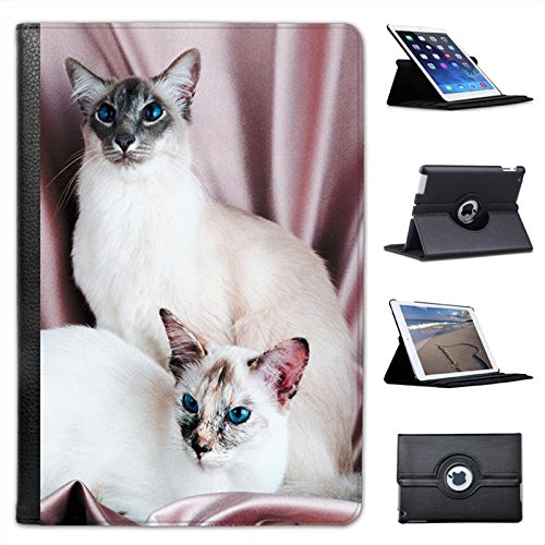 Pair of Siamese Cats for Apple iPad Mini, iPad Mini 2, iPad Mini Retina, iPad Mini 3 Faux Leather Folio Presenter Case Cover Bag with Stand Capability