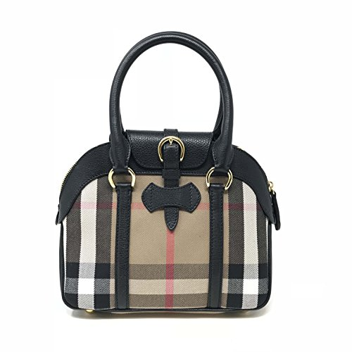 Burberry 3980830 Small House Check Black Leather Ladies Satchel Purse Burberry Purse