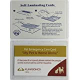 Pet Emergency Care Cards with Laminating Pouches Cat and Dog (Pack of 2)