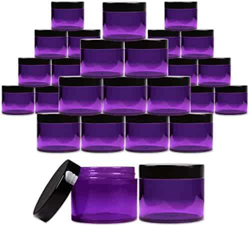 Beauticom 2 oz. (60g /60ML) (Quantity: 36 Packs) Thick Wall Round Leak Proof PURPLE CLEAR Acrylic Jars with BLACK Lids for Beauty, Cream, Cosmetics, Salves, Scrubs