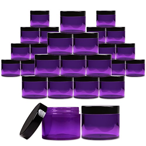 (Beauticom 2 oz. (60g /60ML) (Quantity: 36 Packs) Thick Wall Round Leak Proof PURPLE CLEAR Acrylic Jars with BLACK Lids for Beauty, Cream, Cosmetics, Salves, Scrubs)