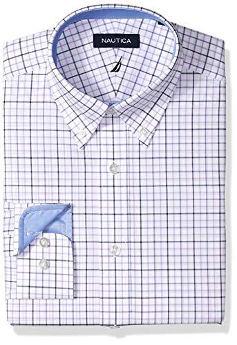 Nautica Men's Classic Fit Button Down Collar Dress Shirt, Purple/Multi Tattersall, 17 34/35 (Men Dress Shirt Nautica)