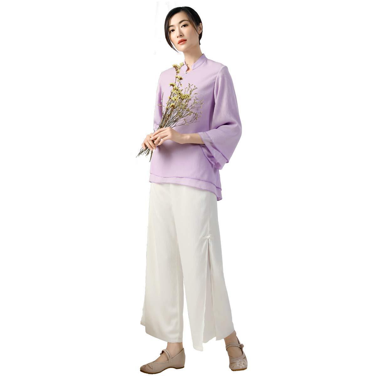 KSUA Abbigliamento da Meditazione in Stile Orientale con Vestiti di Meditazione in Stile Orientale in Chiffon di Yoga da Donna con Colletto in Piedi e Rane Cinesi