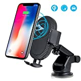 Wireless Car Charger,WU-MINGLU Qi Wireless Charger 3 in 1 Car Air Vent Cell Phone Holder with Cradle 10W Qi Fast Charger for Samsung Galaxy S9/9P/S8/8P/S8,S7/S7Edge,Note8 5,iPhone X 8/8 Plus& Other Qi