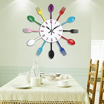 Uniquebella Kitchen Wall Clock Fork U0026 Spoon Kitchen Decoration Kitchen Home  33 X 33 Cm (Multi Color)