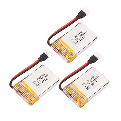 uxcell 3PCS 3.7V 300mAh Charging Lithium Polymer Li-po Battery 51005-2P Connector for Aeromodelling Aircraft