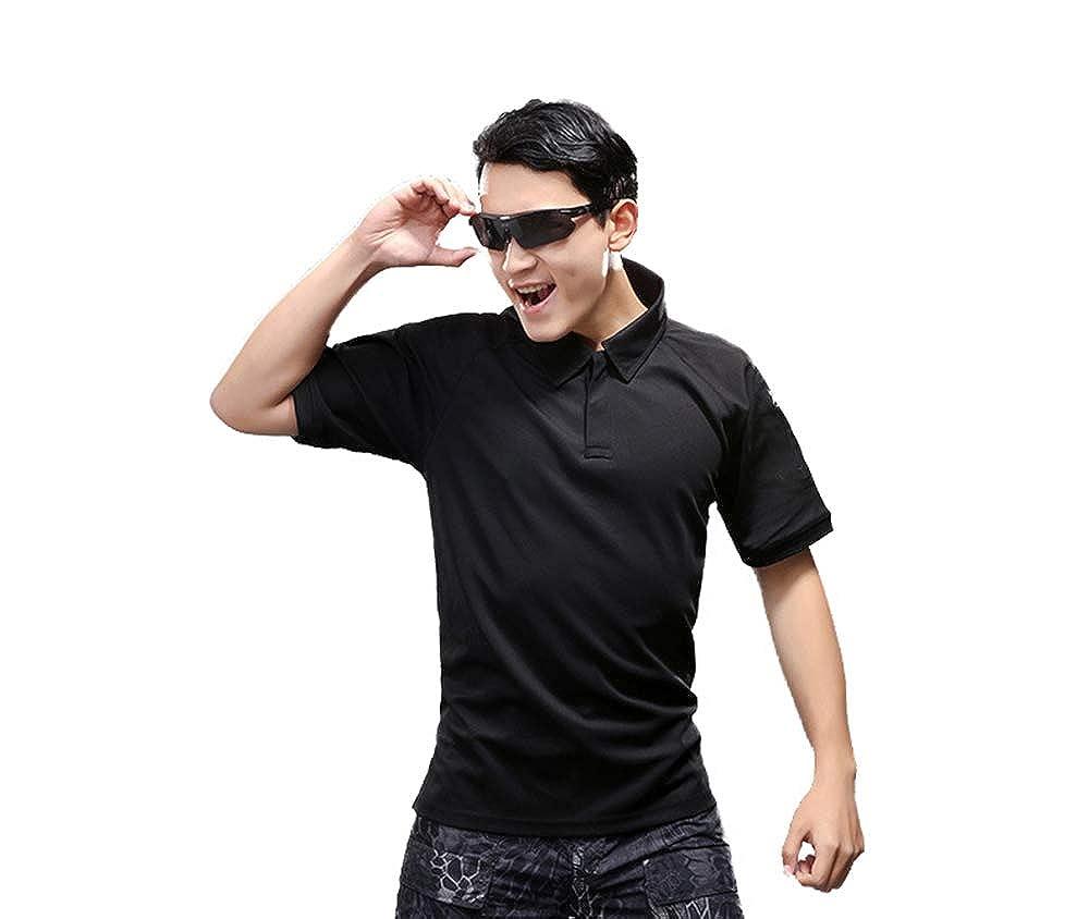 Tactique de Performance Eickawa Tee-Shirt Polo /à Manches Courtes Anti-Transpiration pour Homme