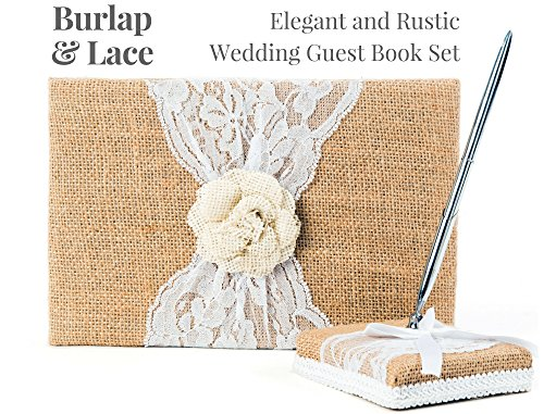 Rustic Wedding Guest Book Made of Burlap and Lace - Includes Burlap Pen Holder and Silver Pen - 120 Lined Pages for Guest Thoughts - Comes in Gift Box (White Flower) by Better Line