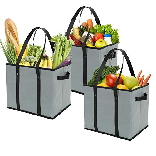 Foraineam 3-Pack Extra Large Reusable Grocery Bags Gray Durable Heavy Duty Grocery Totes Bag Storage Box Bins Collapsible Grocery Shopping Box Bags with Reinforced Bottom