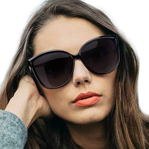 LVIOE Cat Eye Sunglasses for Women, Polarized Mirrored Lens with 100% UV Protection, Trendy Cateye Lightweight Frame Sun Glasses (Black Frame, Grey Lenses) ()