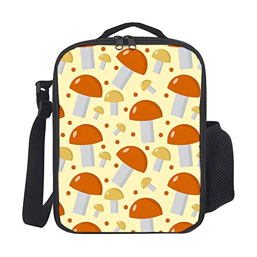 SARA NELL Kids Lunch Box Lunch Backpack Mushrooms Pattern Boletus Edulis Endless Lunch Bag Large Lunch Boxes Cooler Meal Prep Lunch Tote With Shoulder Strap For Boys Girls Teens Women Adults