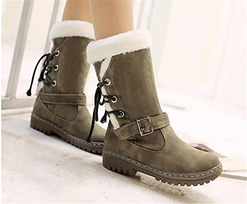 Womens Winter Snow Heavy Fur Lining Warm Drawstring Casual Fashion Cold Weather Snow Boots Green BEmKT