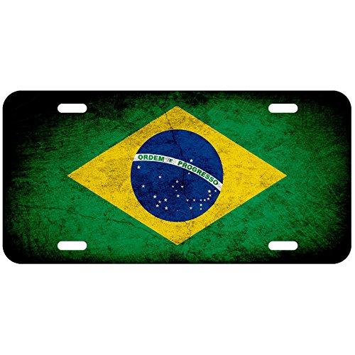 (High Grade Aluminum License Plate - Flag of Brazil (Brazilian) - Rustic)