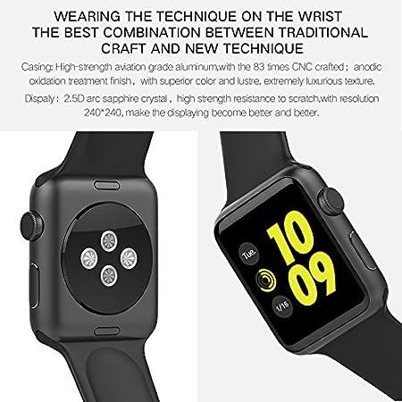 IWO Watch - Reloj inteligente de 2ª generación, Versión 2017 (Iwo 3) - Caja plateada con correa de goma negra: Amazon.es: Electrónica