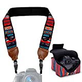 Neoprene Camera Strap and Camera Case Southwest with Quick Release Buckles and Accessory Storage Pockets by USA Gear - Works with Canon, Fujifilm, Nikon, Olympus, Sony and More Cameras