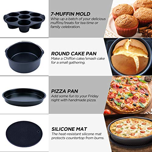 Creativefine Air Fryer Accessories Kit 12 pcs-Roasting Racks with Skewers, Silicone Muffin Pan, 8