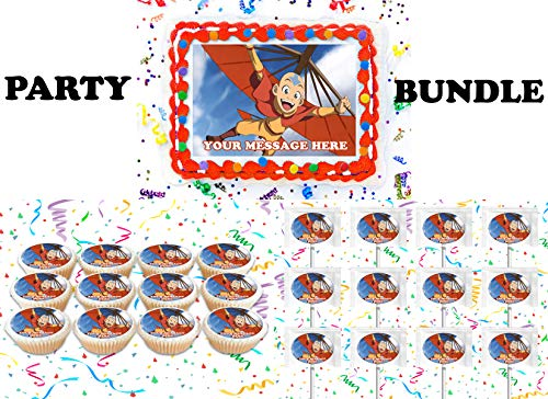 Avatar The Last Airbender Party Supplies 3 Pc Set Including Edible Image Cake Topper Frosting Sugar Sheet, Personalized Cupcakes, Lollipops Decorations