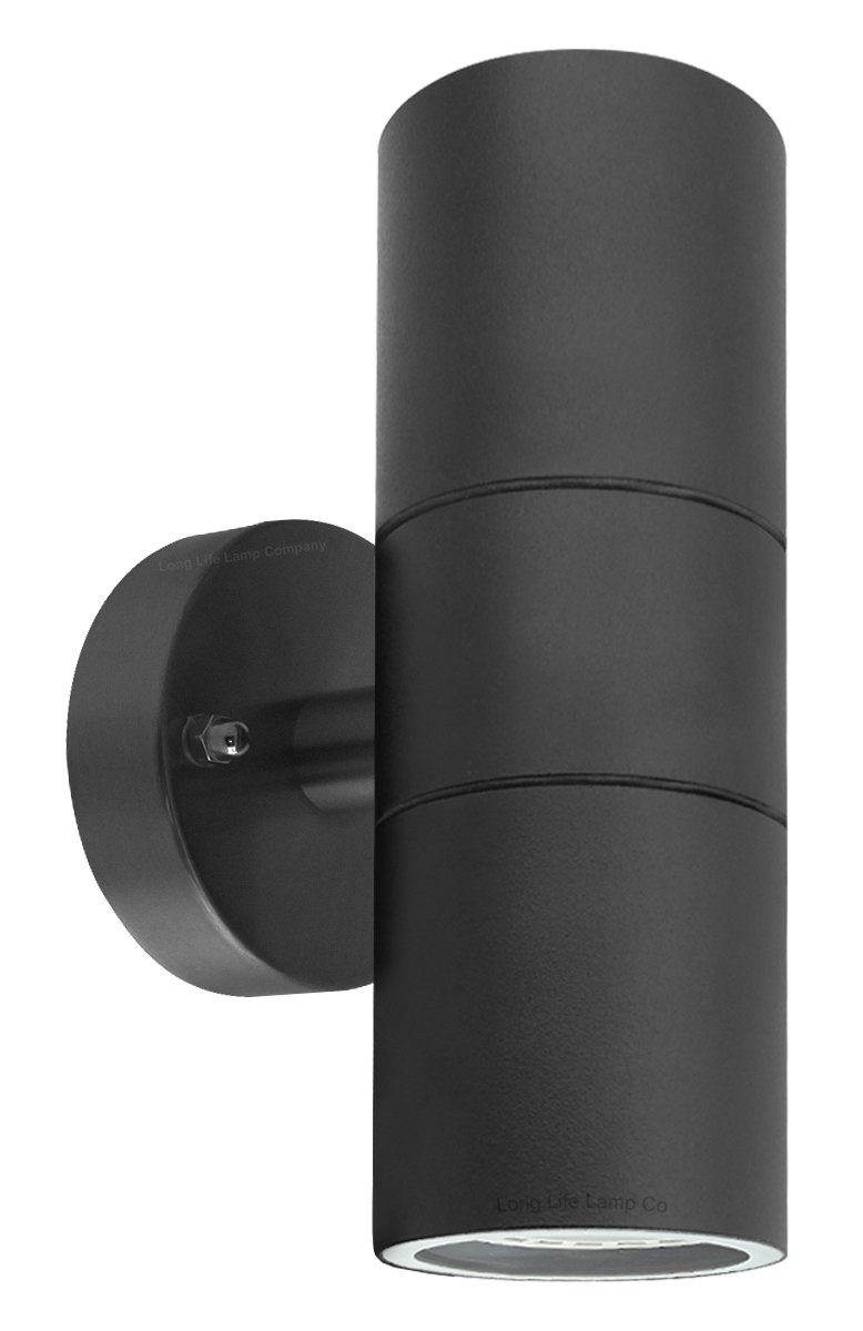 Long Life Lamp Company Moderne Edelstahl-Außenwandleuchte, Leuchtet Nach Oben und Unten, Fassung GU10, Schutzklasse IP65 ZLC035B