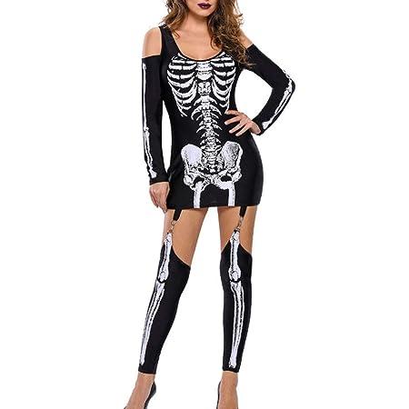 BaojunHT - Disfraz de Esqueleto de Halloween para Mujer, Manga ...